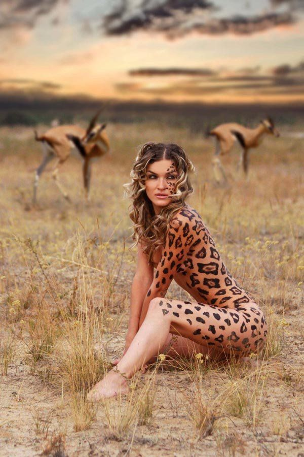 Nude cheetah girl painting